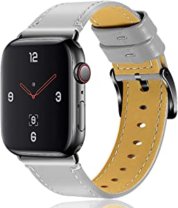 OULUCCI Compatible Apple Watch Band 42mm 44mm, Genuine Leather Replacement for iWatch Strap Compatible with Apple Watch Series 6 5 4 (44mm) Series 3 Series 2 Series 1 (42mm) Sport Edition