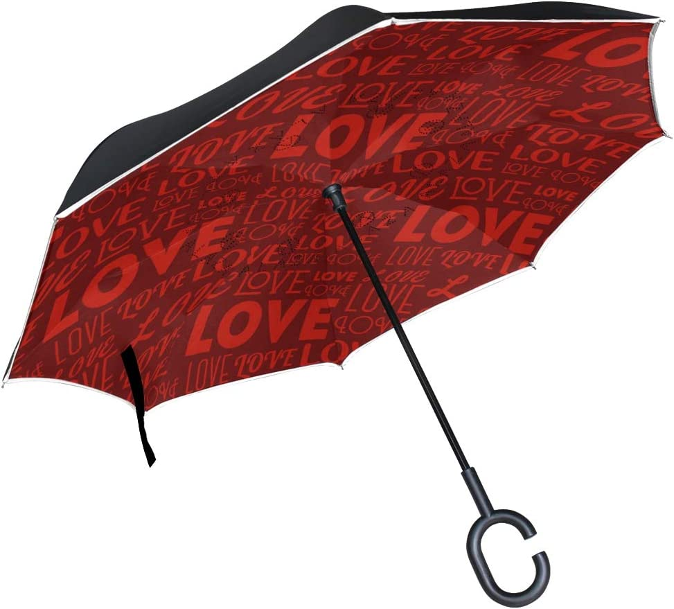 Inverted Umbrella Love Double Layer Outdoor snow Rain Sun Car Travel Large Reversible Umbrella with C Shape Handle for UV Protection Waterproof Windproof
