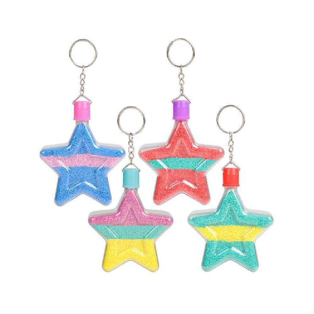 3'' Star Sand Art Bottle Keychains (With Sticky Notes)