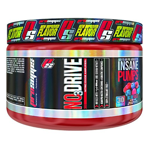 ProSupps NO3 Drive Nitric Oxide Amplifier for Insane Pumps with Nitrosigine and HydroMax, 30 servings, Blue Razz Flavor