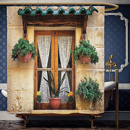 Wanranhome Custom-made shower curtain Shutters Decor Set Basket of Flowers at Historic Building Window with Classic Lace Curtain Inside Image Beige Green For Bathroom Decoration 66 x 72 inches