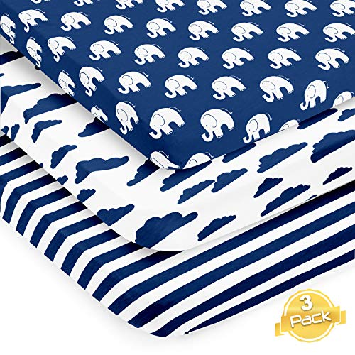Pack n Play Playard Sheets Set | 3 Pack | 100% Super Soft Jersey Knit Cotton (150 GSM) | Portable Mini Crib Mattress Fitted Sheet for Boys & Girls by BaeBae Goods