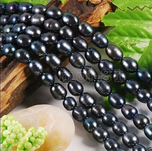 7-8mm Natural Black Rice Freshwater Pearl Loose Beads Strand 15