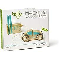 12 Piece Tegu Circuit Racer Magnetic Wooden Block Set, Electric Aqua