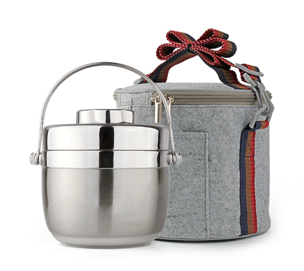 Ospard Stainless Steel Insulated Lunchbox (1.2L, Silvery with bag)