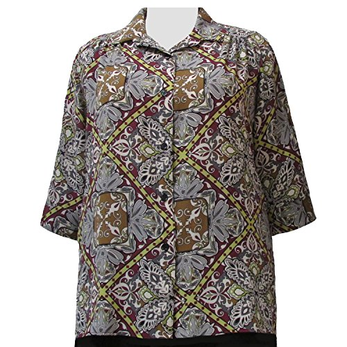 A Personal Touch Women's Plus Size Wine Tapestry 3/4 Sleeve Button-Down Blouse with Shirring - 1X