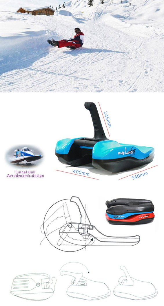Aerodynamics Snow Hoover Downhill Thrill Sled Directional Control Joystick /Blue by Aerodynamics