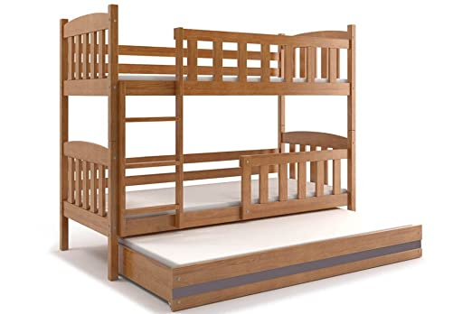 Etagenbett Dreifach : Amazon dreifach etagenbett cuba mit matratzen aus kiefernholz