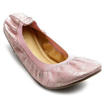 Ollio Women's Ballet Shoe Comfort Cute Enamel Flat M1944(6 B(M) US, Pink) | Shoes