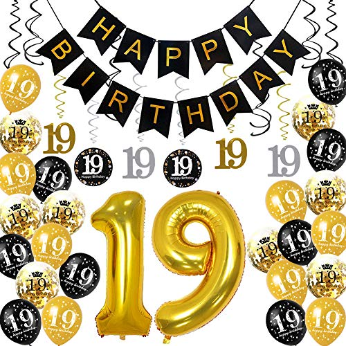 HankRobot 19th Birthday Decorations Party Supplies(40pack) Gold Number Balloon 19 Happy Birthday Banner Latex Balloons(Black, Golden) Confetti Balloons -Great for 19 Years Old Birthday Party