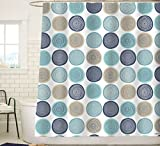Sunlit Abstract Tree Rings Woody Artistic Fabric Shower Curtain. Nature Pale Blue Teal Beige Light Brown