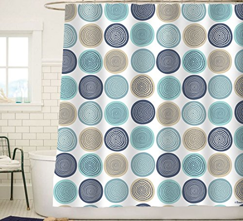 Sunlit Abstract Tree Rings Woody Artistic Fabric Shower Curtain. Nature Pale Blue Teal Beige Light Brown (Blue Curtains Brown And With)