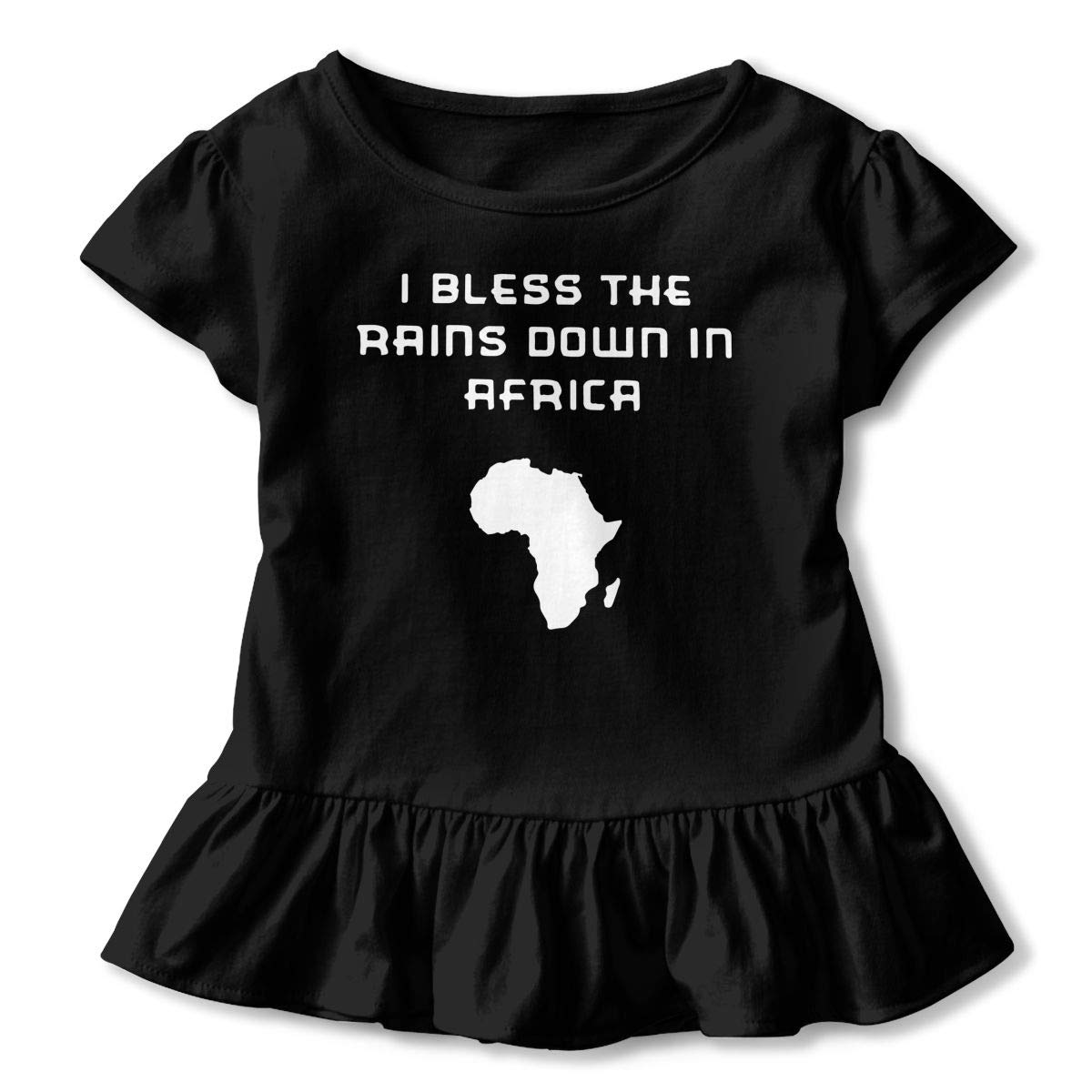2-6 Years I Bless The Rains Down in Africa Baby Girls Short Sleeve Ruffle Tee Cotton Kids T Shirts
