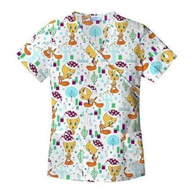 looney tunes womens tweety bird medical smock top christmas scrubs shirt white