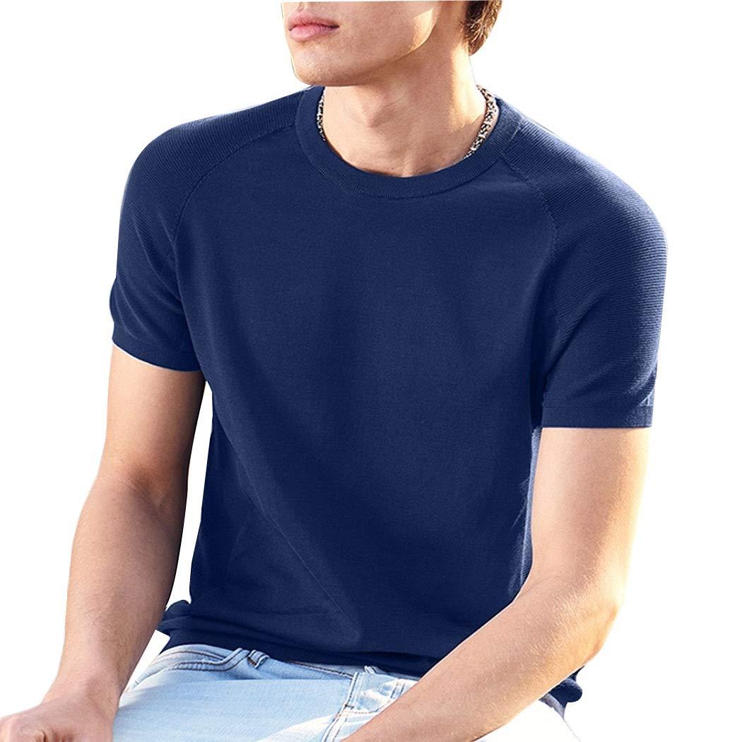 bleu XXL HUIFANGTSHIRT Tricots T-Shirt à Manches Courtes en Coton Hauts à Manches Courtes for Hommes T-Shirt à Manches Courtes
