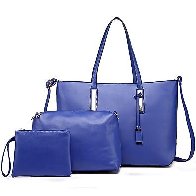 Miss Lulu Unisex Faux Leather Look Large Shoulder 3pcs Tote Bag Handbag (1435-1 b3e9939a25696