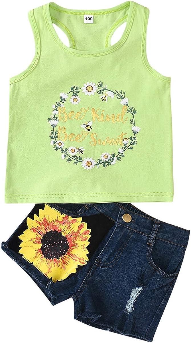 Girls Sunflower Clothes Kid Toddler Casual Printed Sleeveless Tops Shirt Denim Shorts for Beach