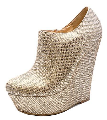 HeelzSoHigh Ladies Gold Glitter Zip-up Wedge Platform Ankle Chelsea Boots Shoes Sizes 3-8