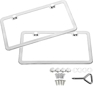 SunplusTrade 2 Stainless Steel Polish Mirror License Plate Frame + Chrome Screw Caps (Silver)