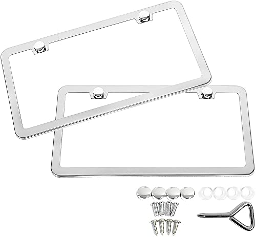 SunplusTrade 2 PCS Stainless Steel Polish Mirror License Plate Frame