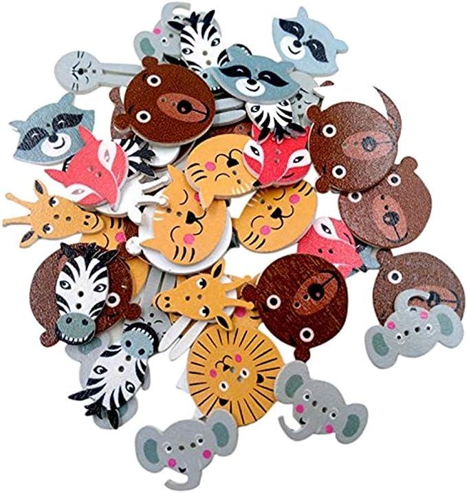 50pcs Cut Animals Printing Wooden Buttons Scrapbook Sewing Handwork Decor 15mm
