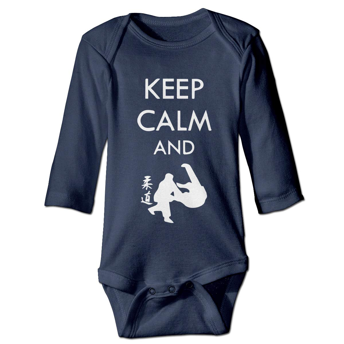 A14UBP Newborn Baby Boys Girls Romper Bodysuit Infant Keep Calm and Fight 1 Long Sleeve Funny Romper Bodysuit