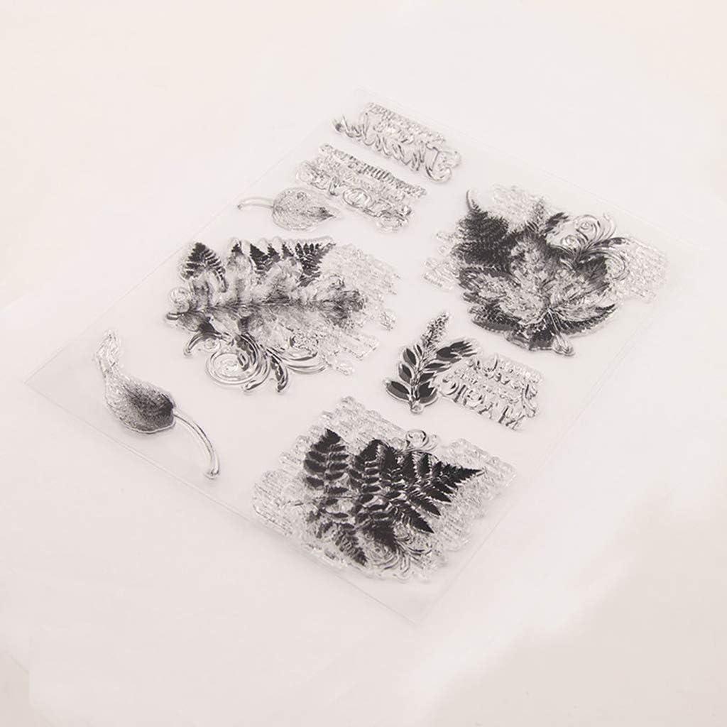 Foglie Foglia Timbro in Silicone Trasparente Sigillo Scrapbooking Fai da Te Album Fotografico in Rilievo Art JERKKY Timbro in Silicone Trasparente