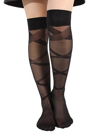 0784fcf72d086 Eozy Collant Chaussette Bas Longue Cuisse Genou Haut Transparent Sock Femme  Noir