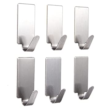 6Pcs Edelstahl selbstklebende Badezimmer Wand Tür Halter Haken Aufhänger Haken