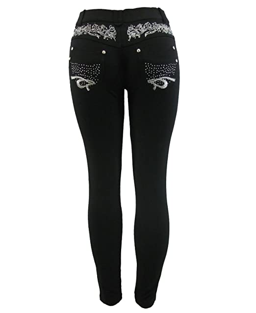 0833c30f8ca5d Barfly Fashion Plus Size Ladies Stretchy Black Diamante Embroidery Skinny  Slim Fit Jeans Jeggings Leggings UK Size 8-26  Amazon.co.uk  Clothing