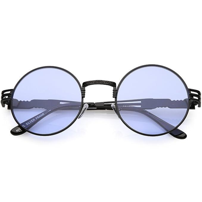 39f6f37dac sunglassLA - Oversize Round Frame Rapper Sunglasses For Men Women Color  Tinted Lens 53mm (Black