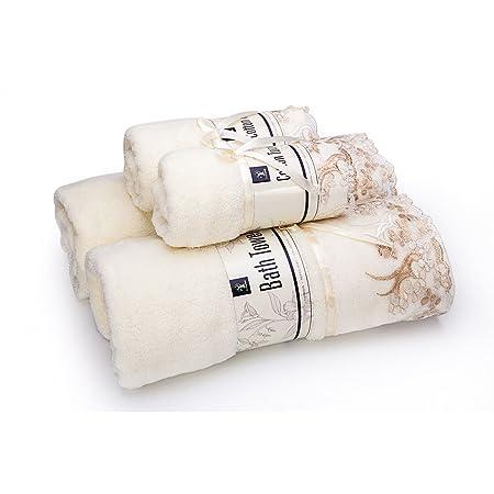 GreForest Set con encaje Trim Toalla de baño de algodón ,2 PCS toalla de mano toalla de baño Conjunto: Amazon.es: Hogar