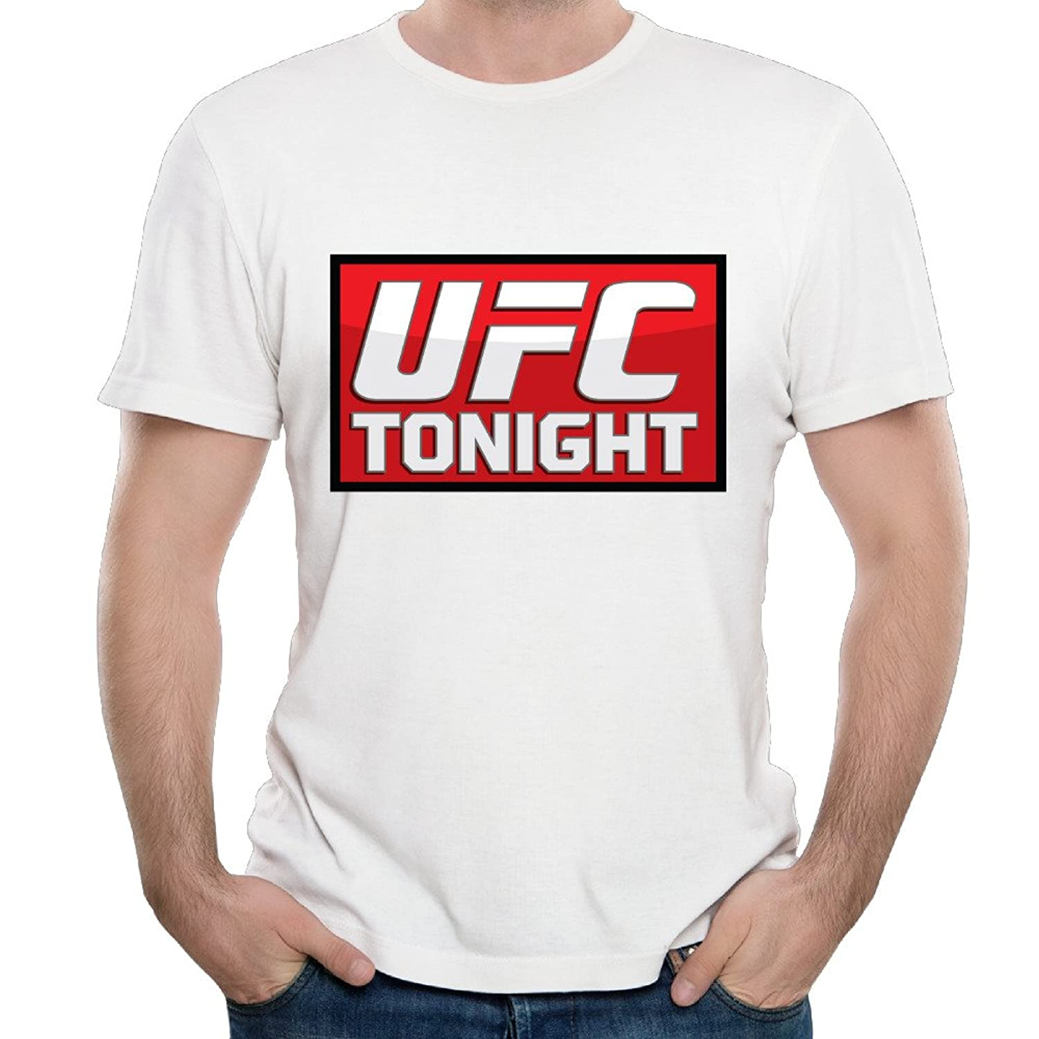 Custom UFC Tonight Red Logo Males White T-Shirts