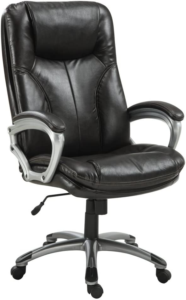 Serta Executive Big and Tall Office Chair, Ergonomic Computer Chair with Layered Body Pillows, Contoured Lumbar Zone, Faux Leather, Chestnut Brown