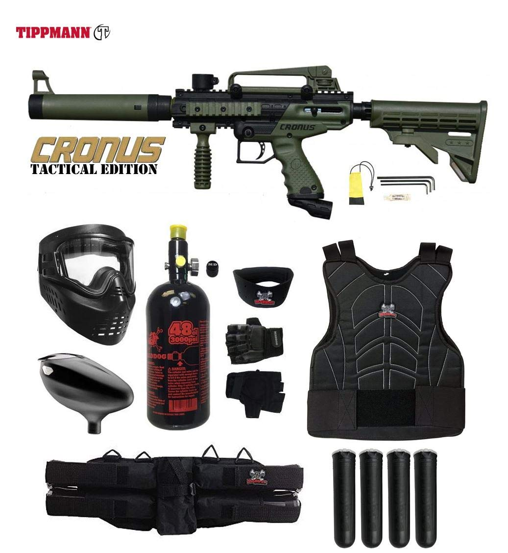 Maddog Tippmann Cronus Tactical Starter Protective HPA Paintball Gun Package - Black/Olive by Maddog