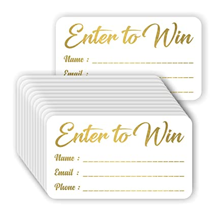 Enter to Win Cards (Pack of 100) Gold Foil Stamping 3 5