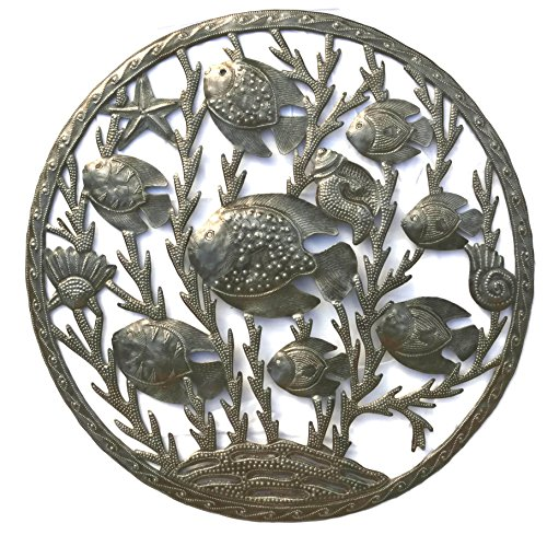 Fish with Ocean Theme Animals, Haiti Steel Drum Metal Art, Indoor and (Folk Art Fish)