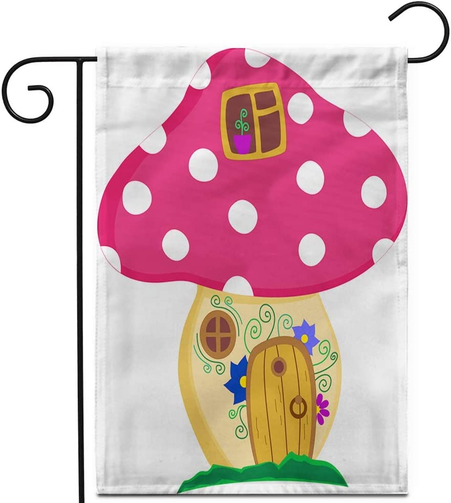 """Awowee 28""""x40"""" Garden Flag Enchanted Forest Toadstool Mushrom House Door and Windows Decorated Outdoor Home Decor Double Sided Yard Flags Banner for Patio Lawn"""
