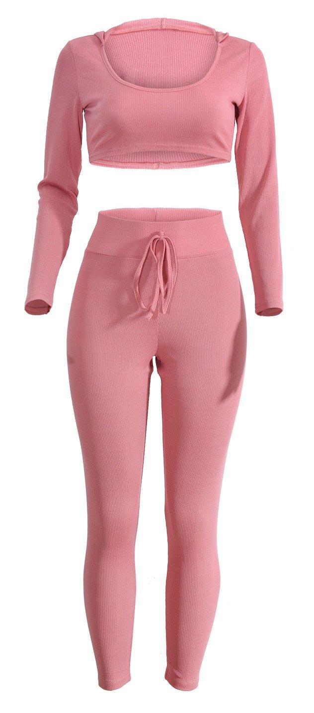 WorkTd Women's Athletic 2 PCS Rib Knit Cropped Hoodie Tracksuit Set Sweat Pants PINK M