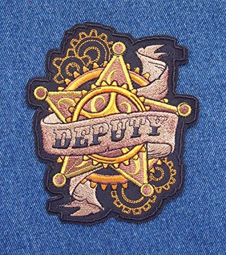 Large Size Deputy Badge Steampunk Western Wild West Novelty Sew On Patch ()