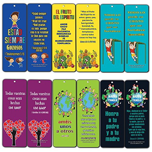 Spanish Bible Verses Bookmarks For Kids 60 Pack