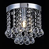 AFSEMOS Crystal Chandelier Lighting, Modern Flush Mount Ceiling Light, Rain Drop Pendant Ceiling Lamp For Hallway, Dining Room, Bedroom, Bathroom, Stairwells, Banquet Hall-Ø20cm