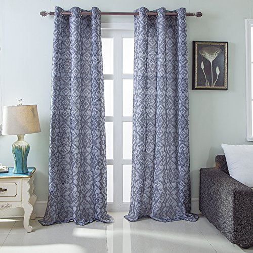 RT Designers Collection Durham Damask Jacquard Grommet Curtain Panel Pair (Set of 2), 76