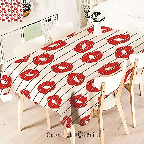 Premium Polyester Printed Tablecloth,Lips Behind The Bars Female Love, Idle for Grand Events and Regular Home Use, Machine Washable,W55 xL55,Scarlet Grey White from TianShum tablecloth