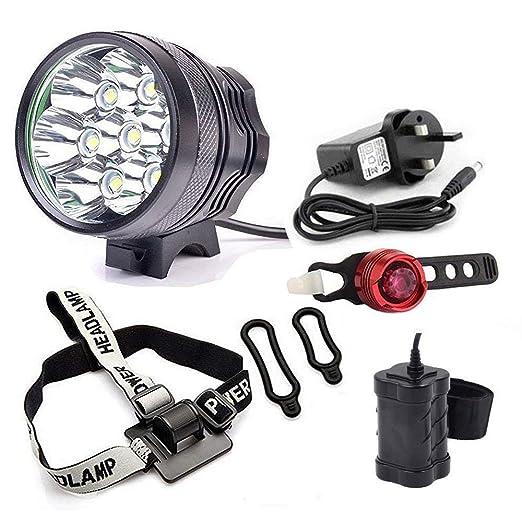 Jolliwin LED Bike Light - Luz de bicicleta recargable con LED de 600 lúmenes, 5 modos de luz, 4400 mAh, impermeable, reflector, luz delantera y trasera para ...
