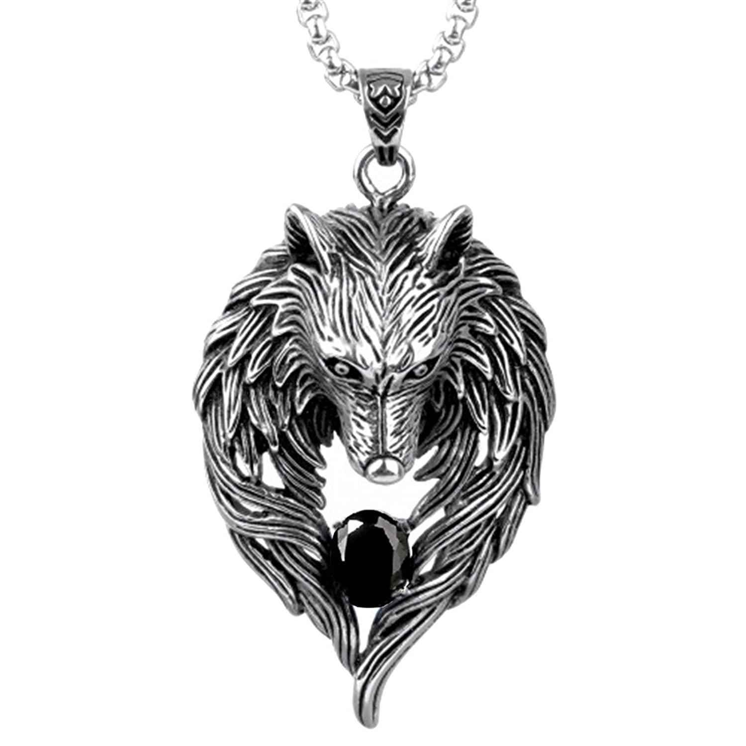 OCTCHOCO Men Necklace Wolf Pendant Personality Cool Wolf Necklace Titanium Steel Chain for Boyfriend Gift