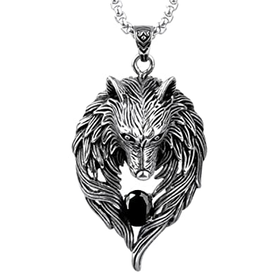 51a925348086 OCTCHOCO Men Wolf Pendant Necklace Howling Wolf Head Necklace Titanium  Steel Chain Gift for Boy