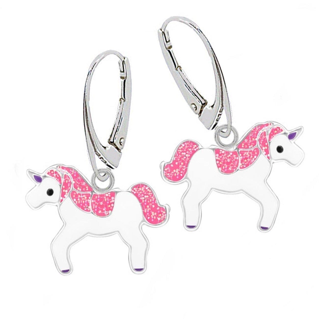gh1a Rose Paillettes Licorne Brisur Boucles d'oreille en argent 925de Fille Motif cheval 0006 GH-1a ch-0006