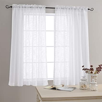 Linen Textured Sheer Window Curtains For Bedroom 63 Inches Long White Sheer  Curtain For Living Room