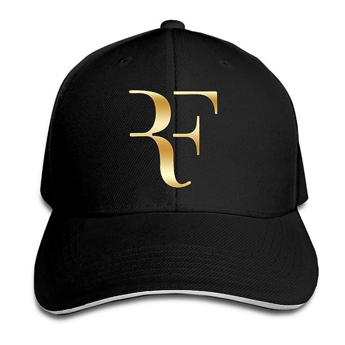 Amazon.com  KMRR Roger Federer Gold Logo Flex Baseball Cap Black  Clothing 51a22f31285